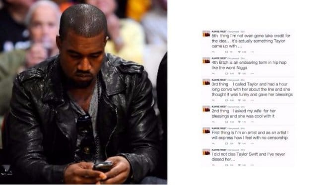 Kanye Tweets About Taylor Swift And Lyrics Feud