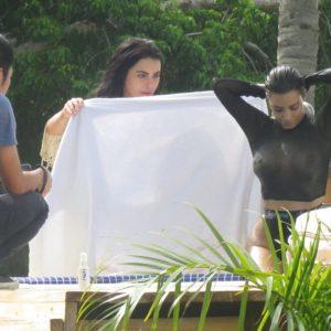Kim Kardashian see through black top (1)